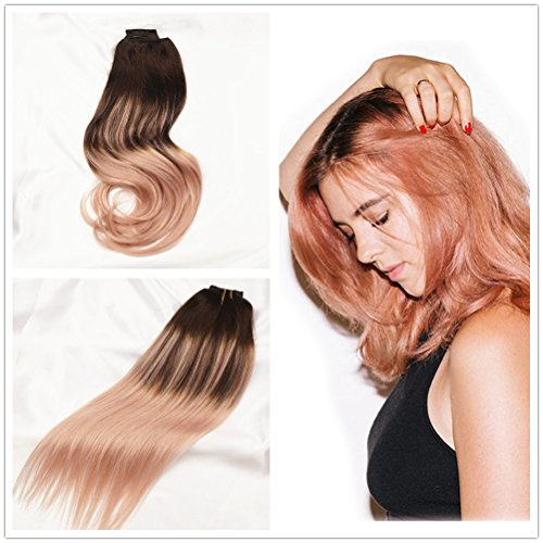 Stella Reina Dark Brown to Pink Rose Gold Highlights Ombre Balayage Hair Extensions Sombre Pink Blonde Color Dye On Dark Roots Real Clip In Human Hair Full Head 120g/7pcs 14 - Hairstyle Pinterest