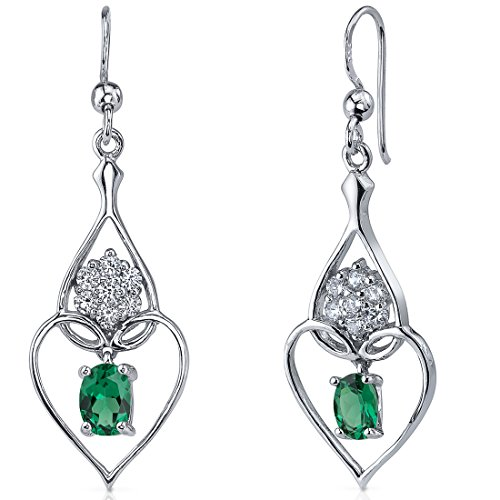 Simulated-Emerald-Dangle-Earrings-Sterling-Silver-Rhodium-Nickel-Finish-150-Carats