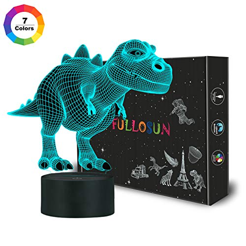 FULLOSUN Night Light for Kids Dinosaur T-rex 3D Night Light Bedside Lamp 7 Color Changing Xmas Halloween Birthday Gift Toys for Child Baby ()