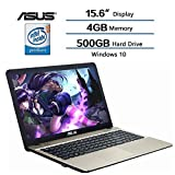 "Asus Flagship High Performance VivoBook Max 15.6"" HD laptop, 4GB DDR3L SDRAM RAM, 500GB HDD 5400RPM, Intel Quad Core Pentium N4200 Processor up to 2.5 GHz, Intel HD Graphics 500, Windows 10"