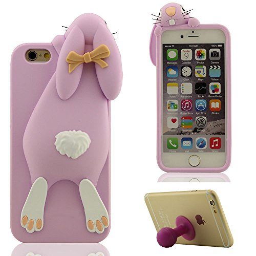 Prime iPhone 6 / 6S Coque 4.7�?Protective Case Housse de Protection Souple Silicone Gel Cover Bumper, Mignonne Lapin Apparence - Pourpre