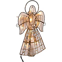 Kurt Adler 10-Light Capiz Angel Treetop with Vines and Pearls, 9.75-Inch