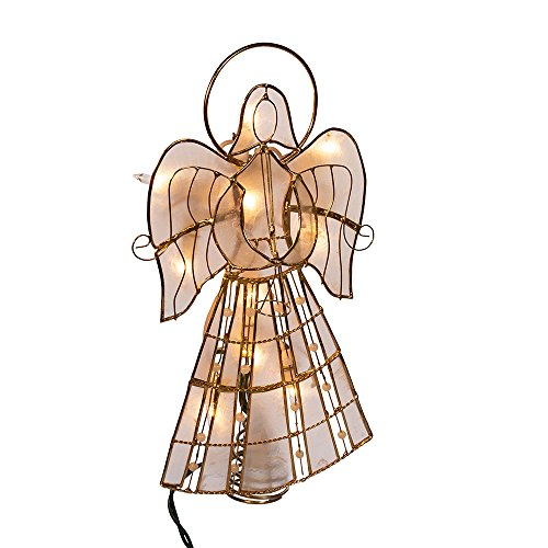 Kurt Adler 10-Light Capiz Angel Treetop with Vines and Pearls, 9.75-Inch (Simple Angel Topper Tree)