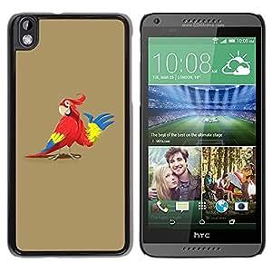 TopCaseStore / la caja del caucho duro de la cubierta de protección de la piel - Friendly Parrot - HTC DESIRE 816