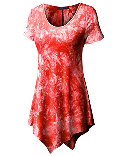 Doublju Womens Short Sleeve Scoop Neck Solid / Tie Dye Tunic Top With Asymmetrical Hem RED LARGE - Breezy Printed Tunic