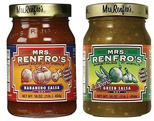 Mrs. Renfros Green Salsa 16 oz & Habanero Hot Salsa 16 oz (Variety Pack)