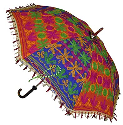 Indian Handmade Designer Cotton Fashion Multi Colored Umbrella Embroidery Boho Umbrellas Parasol 10 Pcs Lot