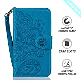 """LIKESEA Leather Wallet Case for Apple iPhone 6/ 6S (4.7""""), Beautiful Floral Pattern Premium Protective Flip Cover with Card Slots, Magnetic Closure and Stand Function, Blue"""