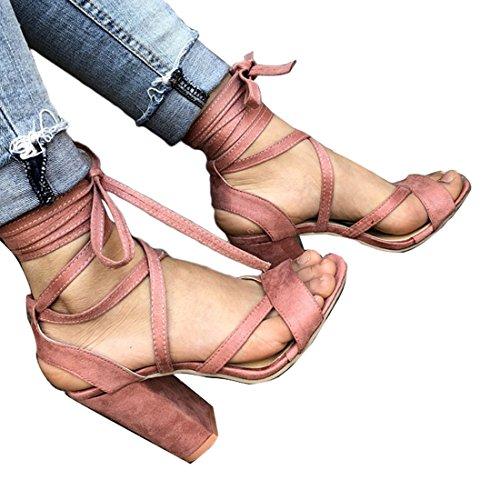 tiras alto con Fiesta de Tobillo Rosa para baile de con cordones mujer Sandalias Talón Zapatos Moda tacón Bloque qzv04wz