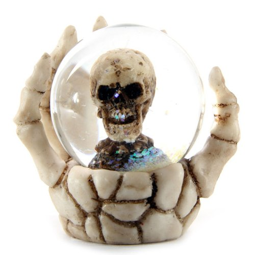FunnyToday365 Fantasy Skeleton Hand With Crystal Ball Mini Skeleton Snow Globe Ornament Creepy Skull Figurine Table (Mini Snowglobe Ornament)