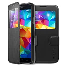Spigen Flip View Galaxy S5 Case with Front Folio Cover Protection for Samsung Galaxy S5 2014 - Metallic Black