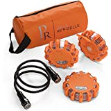 P.Rendelle LED Road Safety Emergency Flares Coiled Magnetic Flashlight. Roadside Safety Lights Car RV Truck Boat Bicycle Hiking. Flashing Beacon Kit 3 Pack Storage Bag Strobe Warning Lights Batteries