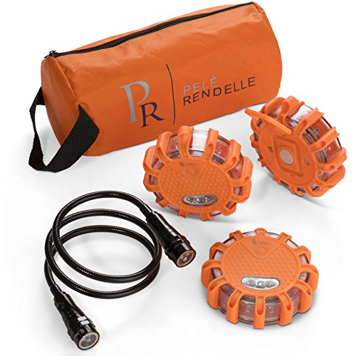 P.Rendelle LED Road Flares Emergency Light Kit-Roadside Safety for Car Truck, RV, Boat-3 Beacon Disc Pack. BONUS Magnetic Coiled Flash Light, Batteries and Storage Bag. RV Accessories and Essentials