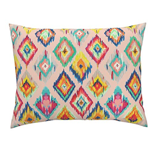 Rainbow Ikat Euro Knife Edge Pillow Sham Painted Geometric Bohemian Boho Hand Painted Ikat Abstract Blush Pink Boho Modern Home Decor by Gypseeart 100% Cotton ()