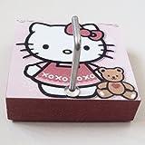 Agility Bathroom Wall Hanger Hat Bag Key Adhesive Wood Hook Vintage Hello Kitty's Photo
