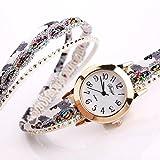 Willsa New Womens Luxury Bracelet Artificial Gemstone Quartz Wrist Watch Multicolor (Gold)