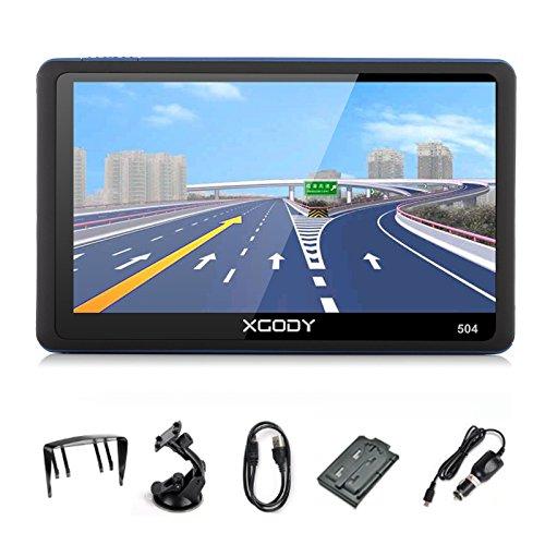 Xgody 5 Inch Portable Car GPS Navigation Sat Nav Touch Screen Built-in 8GB RAM FM MP3 MP4 Lifetime Map Vehicle Navigator