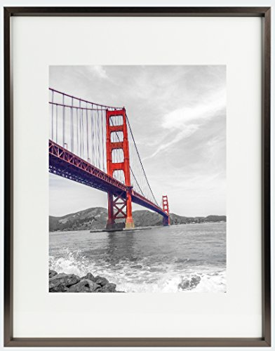 Frametory, 11x14 Aluminum Coffee Photo Frame with Ivory Color Mat for 8x10 Picture & Real Glass, Metal Picture Frame Collection (Coffee)