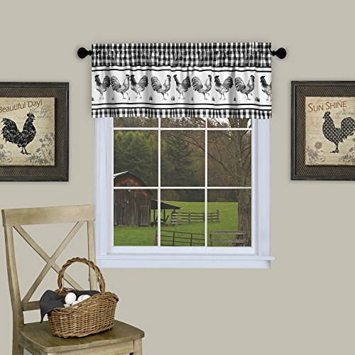 Country Rooster Checkered Kitchen Curtain Plaid Valance (58x14, Black)