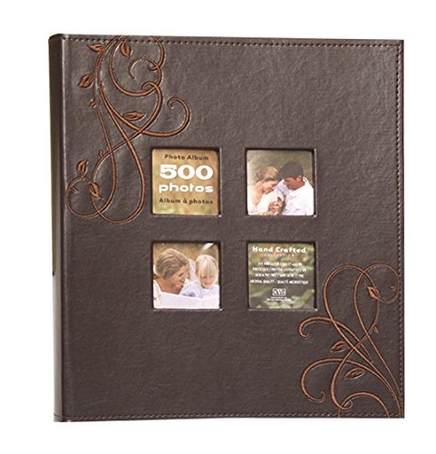 Kleer-Vu Photo Embroidery Leather Collection, Holds 500 4x6 inches Photos, 5 Per Page - Brown. by Kleer-Vu
