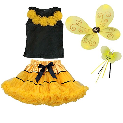 Bumblebee Costume Wings, Wand, Tutu Halloween Dress up Fairy Outfit (3/4) -