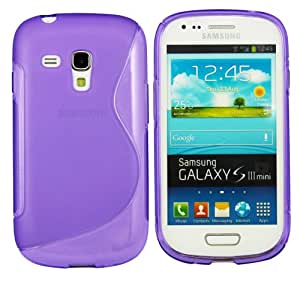 Kit Me Out CAN TPU Gel Case + Screen Protector with MicroFibre Cleaning Cloth for Samsung Galaxy S3 Mini i8190 (NOT FOR S3) - Purple S Wave Pattern