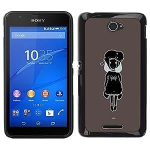 Caucho caso de Shell duro de la cubierta de accesorios de protección BY RAYDREAMMM - Sony Xperia E4 - Negro y blanco Cute Girl