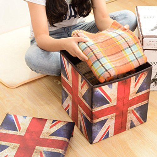 Delicate MonkeyJack Non Woven Fabric Folding Storage Stool Ottoman Cube  Storage Box Union Jack