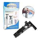 LED Folding Walking Stick, Safety Walking Stick Magic Cane 4 Head Pivoting Trusty Base Adjustable Height SOS Alarm