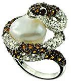 13.51 Cts Freshwater Cultured Pearl with Citrine Rhodium-Plated 925 Sterling Silver Snake Ring