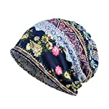 Colorido Women Vintage Sun Flower Print Muslim Block Cap Stretch Turban Hat Head Scarf size One Size (Blue)