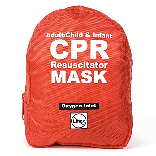 WNL Products FAK5000SGI-RED Adult/Child & Infant Pocket CPR Rescue Resuscitation Mask Kit with One Way Valve and Belt Clip in Soft Red Case