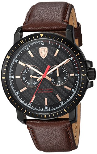 Ferrari Men's 'TURBO' Quartz Stainless Steel and Leather Casual Watch, Color:Brown (Model: 830452)