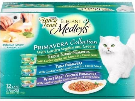Fancy Feast Elegant Medleys Primavera Collection Cat Food Variety Pack 12-3 oz. Cans Contains 4 Each Tender Turkey Primavera, Tuna Primavera, and White Meat Chicken Primavera