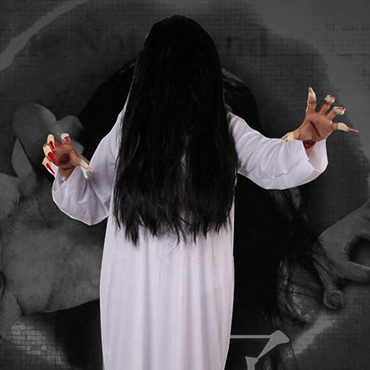 Amosfun Disfraz de Fantasma de Mujer de Halloween Ropa Blanca y Ropa de Fantasma de Terror de Cabello Negro para Mujer Disfraz de casa encantada