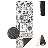 BINGZHAO Video Games Black And White Sketch Style Gaming Design Exercise Yoga Mat For Pilates,Gym,Fitness, Travel & Hiking