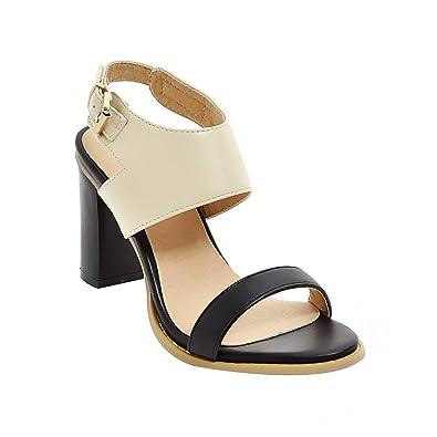 97885cf2b56 A-LING Women s Sexy Chunky High Heel Ankle Buckle Strap Platform Dress Peep  Toe Pump