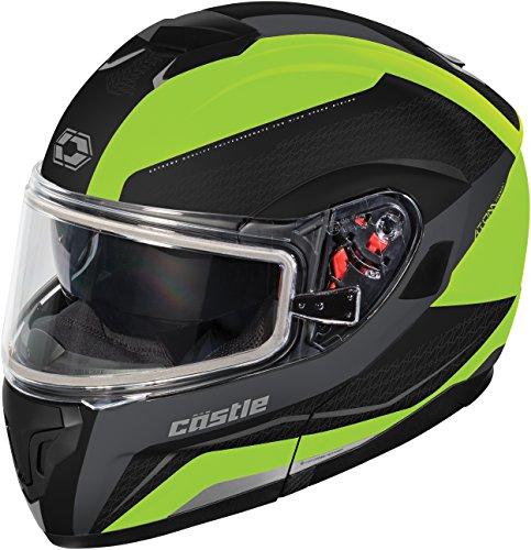 Castle X Atom SV Tarmac Modular Snowmobile Helmet (XLG, Matte Hi-Vis)