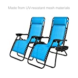 New Modern Zero Gravity Chair Outdoor Patio Adjustable Recliner Comfortable Padded Headrests and Armrest w/Cup Holder - Set of 2 Light Blue #1904