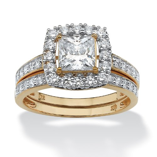(18K Yellow Gold over Sterling Silver Princess Cut Cubic Zirconia Halo Bridal Ring Set Size 6)