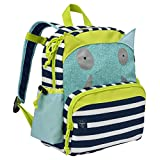 Lassig Kids Cute Backpack for Pre-School or Kindergarten with chest strap, name badge and drink bottle holder, Little Monsters-Bouncing Bob, Navy/Turquoise