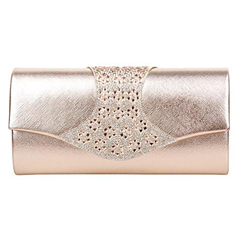 Flap Handbag Damara Clutch Chic Texture Champagne Crystal Evening Women's Uwnn4Bqa1
