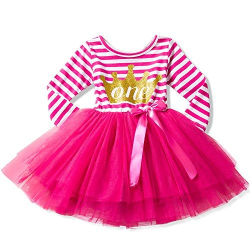 - NNJXD Girl Shinny Stripe Baby Girl Sleeveless Printed Tutu Birthday Dress Size (80) 10-12 Months Gold&Light Rose