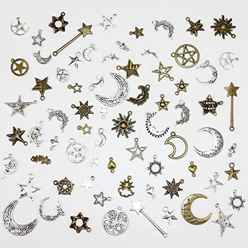 fairy maker Celestial Mixed Sun Moon Star Pendant Charms Bulk Alloy Charms for DIY Necklace Bracelet Jewelry Making and Crafting