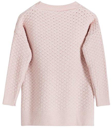 Vogueearth Hollow Sweater Knit Hülse Damen's Lang Hals Rosa Sweatshirt Crew Pullover