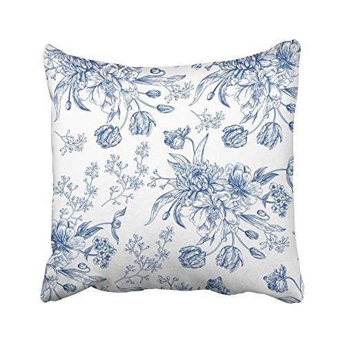 (SSKBJTBDW Decorative Pillowcases Vintage Blue Toile Flowers Throw Pillow Covers Cases Home Decor Sofa Cushion Cover 16-16 Inch)