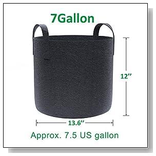 Gardzen 10-Pack 7 Gallon Grow Bags, Aeration Fabric Pots with Handles