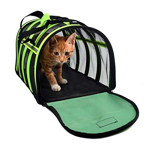 bluee S bluee S Pet Bag Outdoor Striped mesh Bag Oxford Cloth Shoulder Bag cat Bag pet Folding Bag (color   bluee, Size   S)