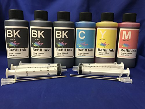 600 ml Bulk Ink refill set for all printers: HP Canon Lexmark Brother Dell FOR REFILLABLE CARTRIDGES OR CIS CISS INK SYSTEM + free 4 syringes/ needles