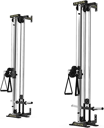 ARCHON Wall Mount Cable Crossover Commercial Ball Bearing Cable Station 17 19 Positions Adjustable 180 Degree Pulleys Cable Crossover Machine Cable Pulldown Home Gym Equipment Weight Machine